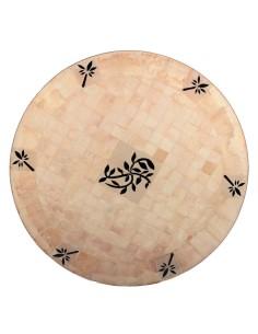 Mosaik Tischplatte ø120cm Nura natur/schwarz