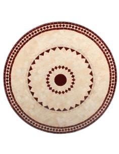 Mosaik Tischplatte ø120cm Ronu natur/rot