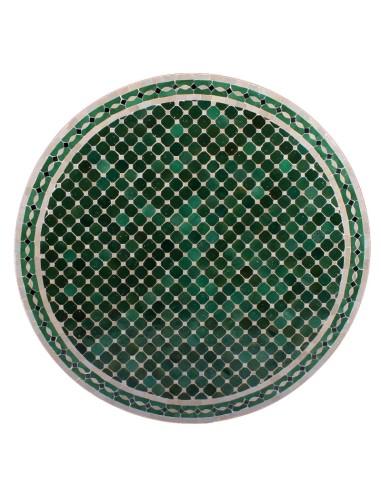 Mosaik Tischplatte ø120cm Menak grün/natur/schwarz