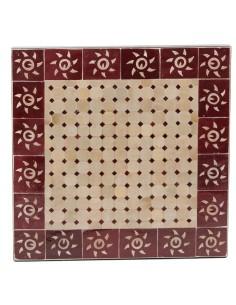Mosaik Tischplatte 60x60 cm Sumil rot/natur Sonne