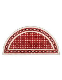 Mosaik Tischplatte halbrund 40x80 cm Renak rot/natur/schwarz