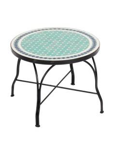 Mosaiktisch Couchtisch ø60cm, Variante 2, Fero türkis/weiss/dunkelblau
