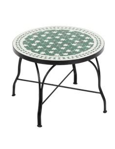 Mosaiktisch Couchtisch ø60cm, Variante 2, Maar grün/weiss Sterne