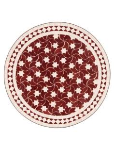 Mosaiktisch Couchtisch ø60cm, Variante 2, Maar rot/weiss Sterne