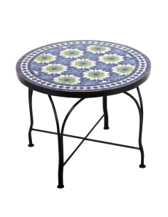 Mosaiktisch Couchtisch ø60cm, Variante 2, Iras blau/beige/grün