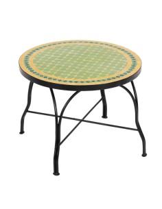 Mosaiktisch Couchtisch ø60cm, Variante 2, Guno hellgrün/gelb/dunkelgrün