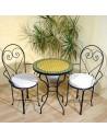 Marokkanischer Mosaiktisch Anuk 60 cm mit Stühlen