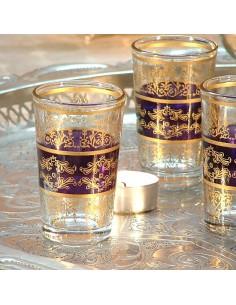 6 orientalische Teegläser Tunis aubergine