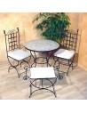 Marokkanischer Mosaiktisch Yena 80 cm mit Stühlen