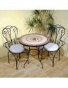 Marokkanischer Mosaiktisch Ronu 80 cm mit Stühlen