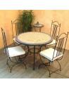 Marokkanischer Mosaiktisch Jamal 100 cm mit Stühlen