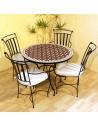 Marokkanischer Mosaiktisch Maar rot 100 cm mit Stühlen