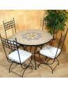 Marokkanischer Mosaiktisch Jebon 100 cm mit Stühlen