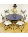 Marokkanischer Mosaiktisch Fassia 120 cm mit Stühlen