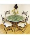 Marokkanischer Mosaiktisch Maar grün 120 cm mit Stühlen