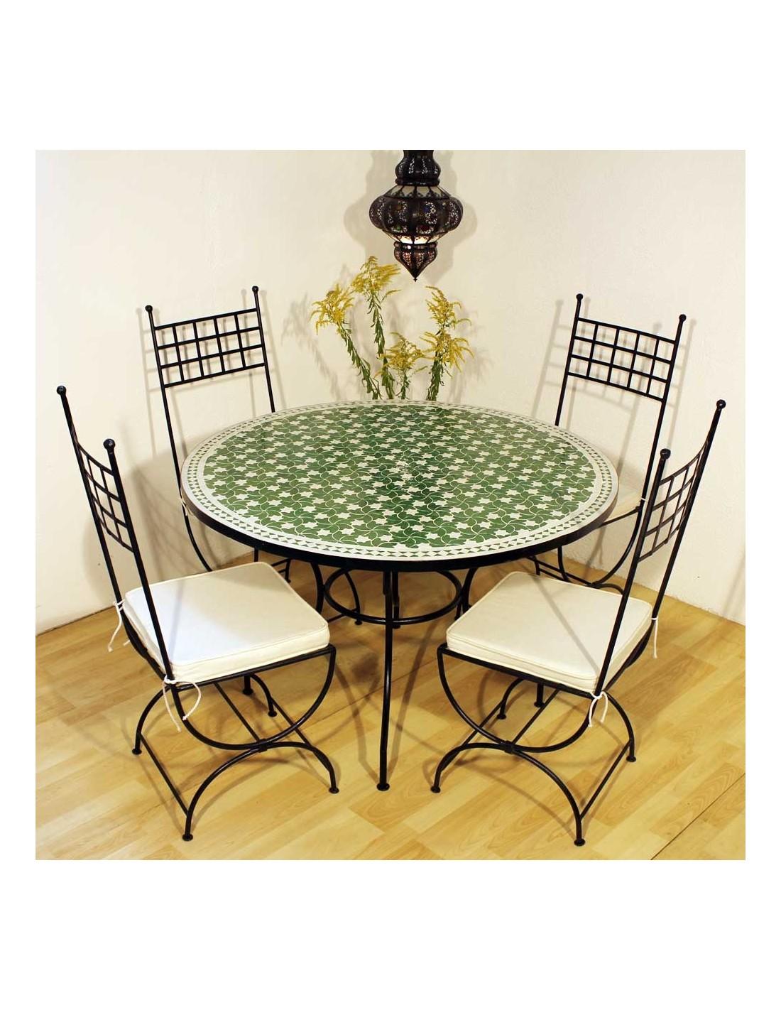 mosaiktisch maar gr n 120cm rund aus marokko. Black Bedroom Furniture Sets. Home Design Ideas
