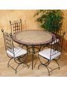 Marokkanischer Mosaiktisch Sumil 120 cm mit Stühlen
