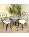 Marokkanischer Mosaiktisch Egün 60 cm mit Stühlen